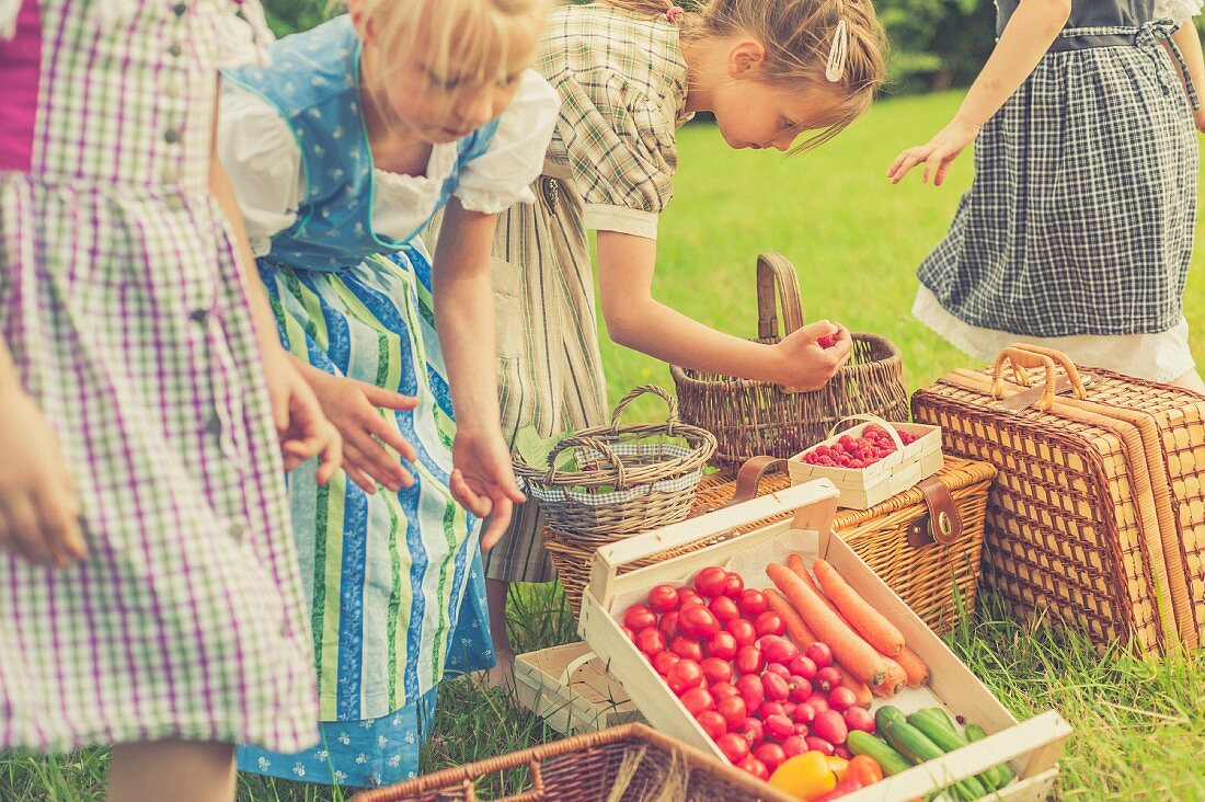 Girls wearing dirndls with fresh fruit and vegetables in a meadow