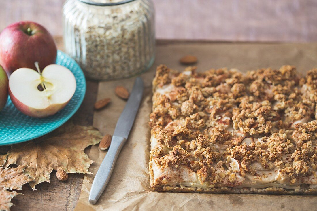Wholemeal apple tray bake cake with almond and oat crumbles