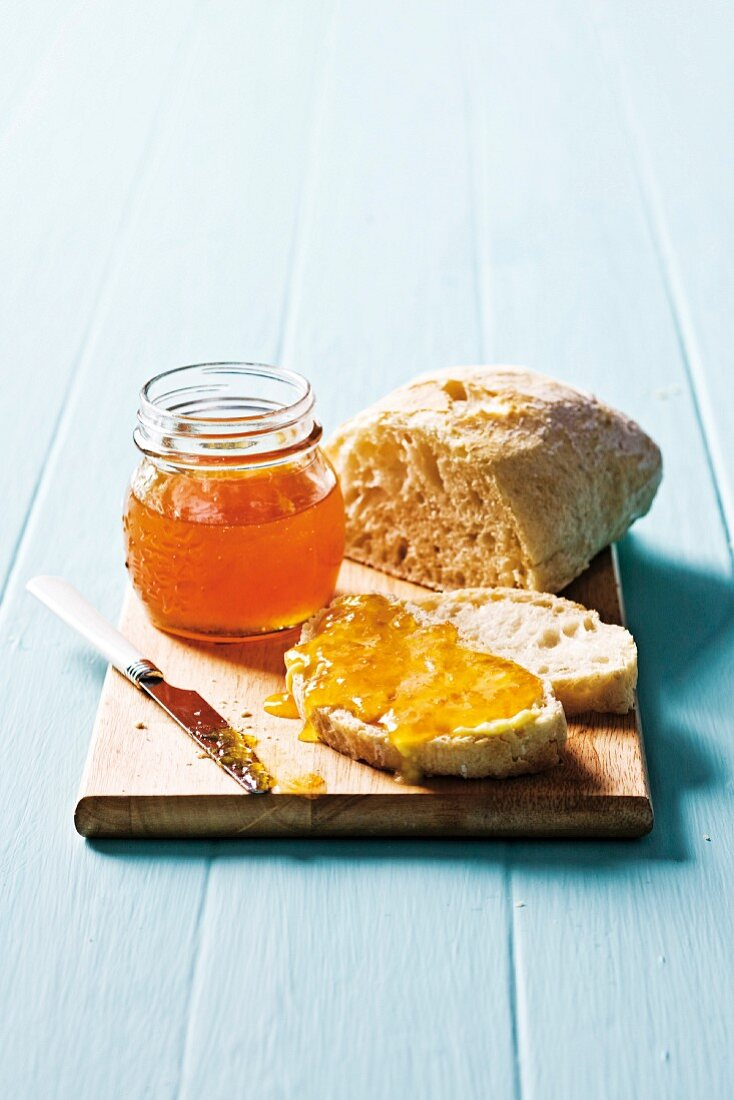 White bread with apricot jam