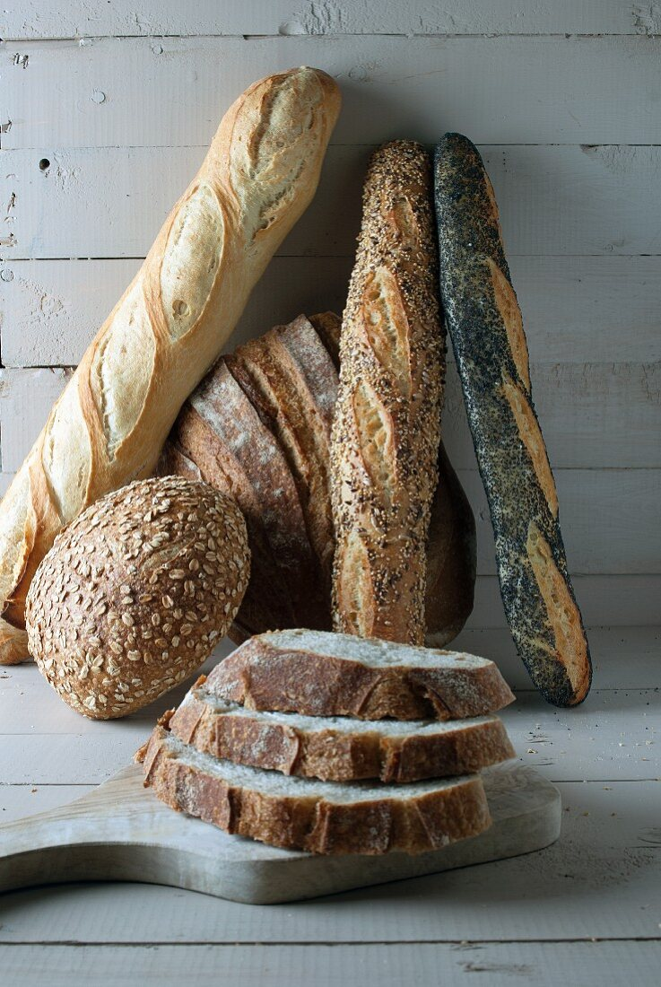 Various breads and slices of bread
