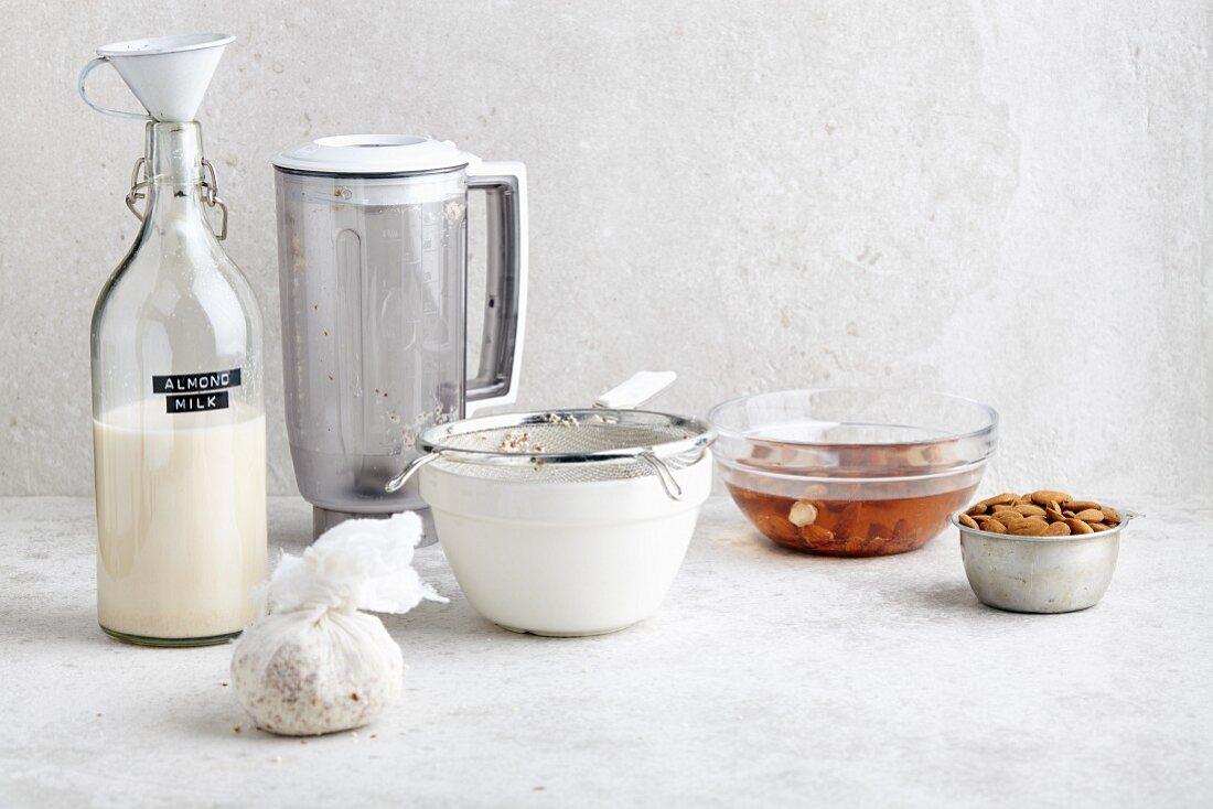 Homemade vegan almond milk and almonds