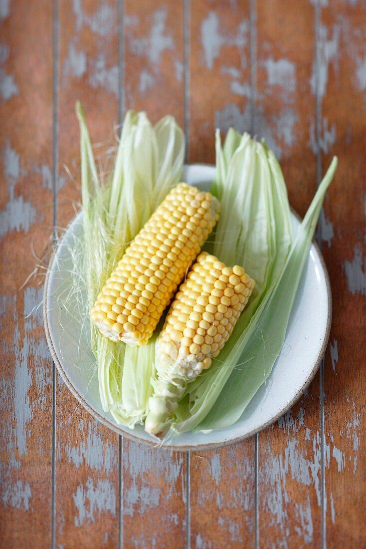 Fresh corn cobs on a plate