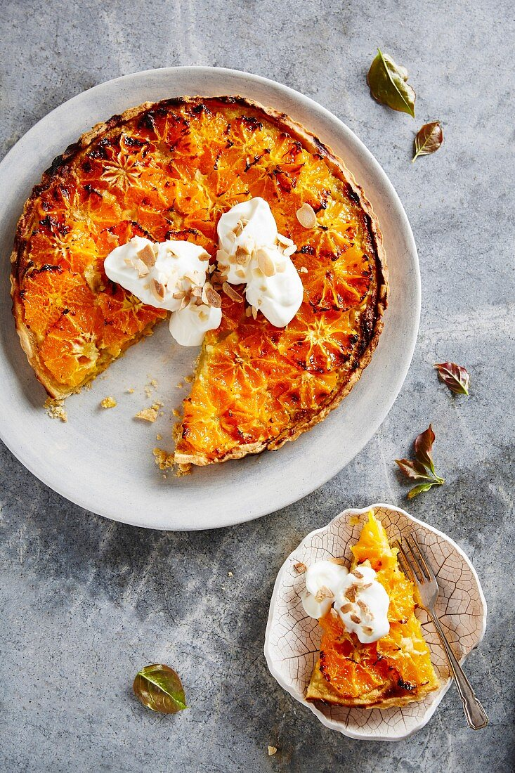Clementine and frangipane tart with almonds