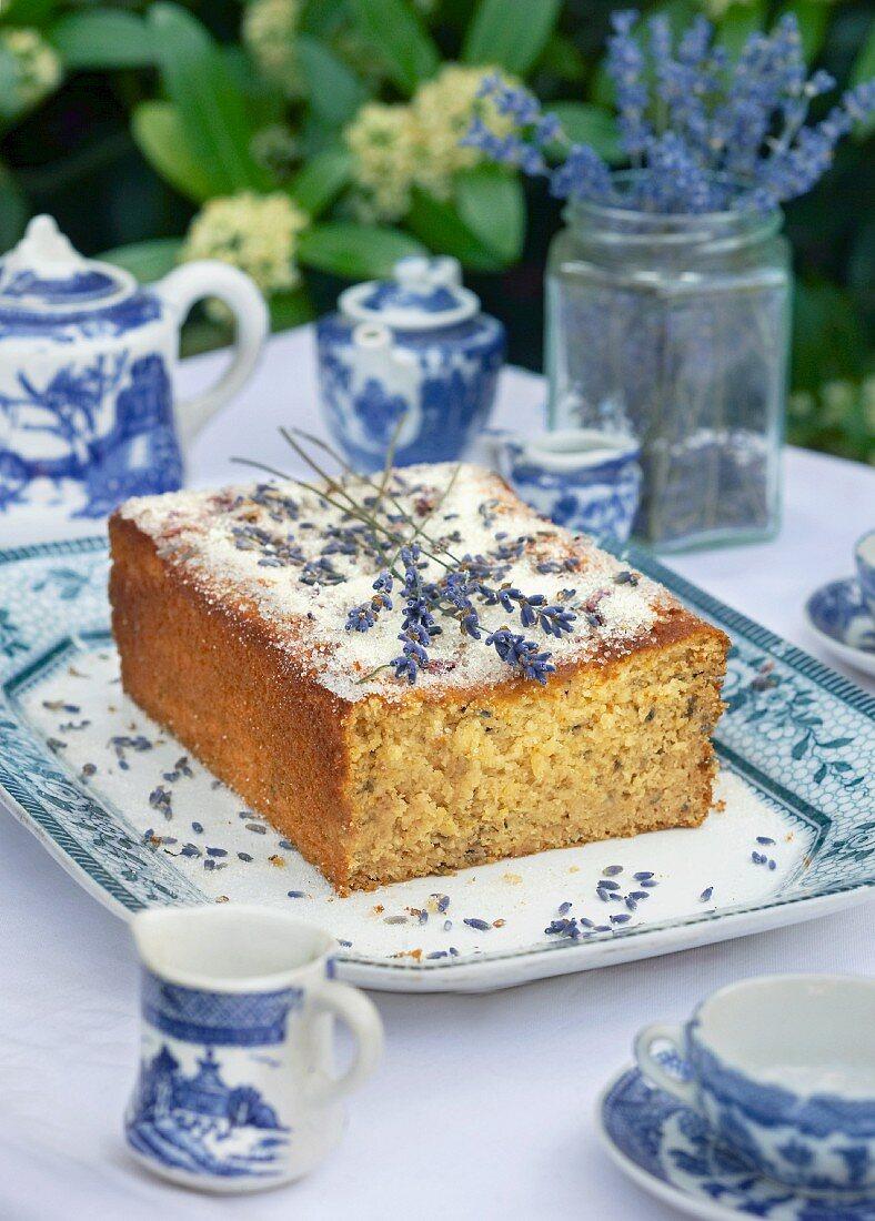 Lavender loaf cake on a table outside