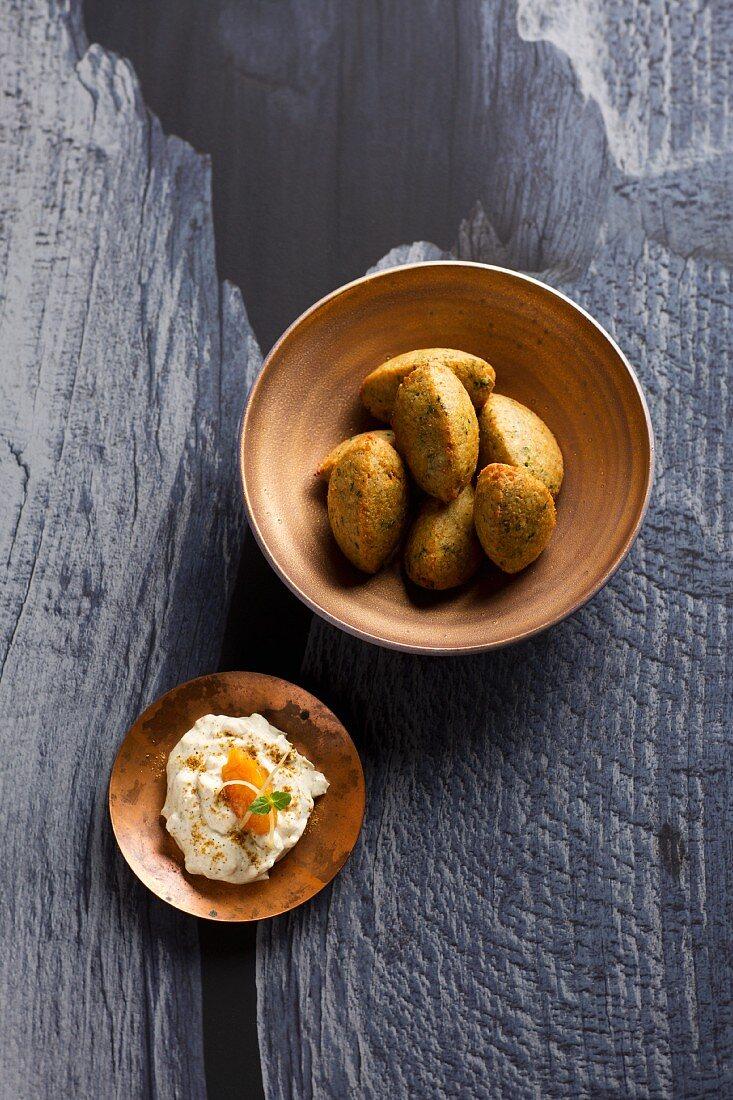 Falafel with ras el hanout yoghurt (Turkey)