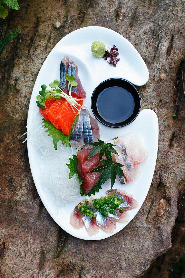 Sashimi mit Sojasauce und Wasabi (Japan)