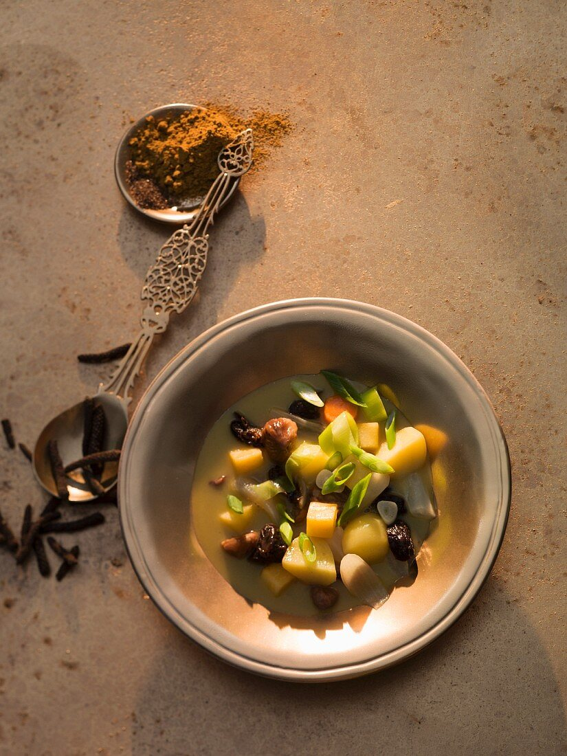 Vegetable stew with chestnuts and ras el hanout