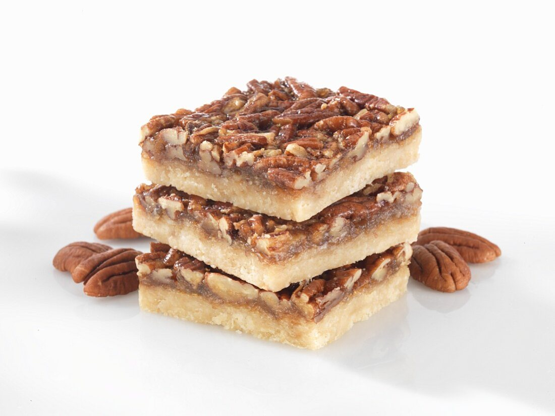A stack of pecan nut bars
