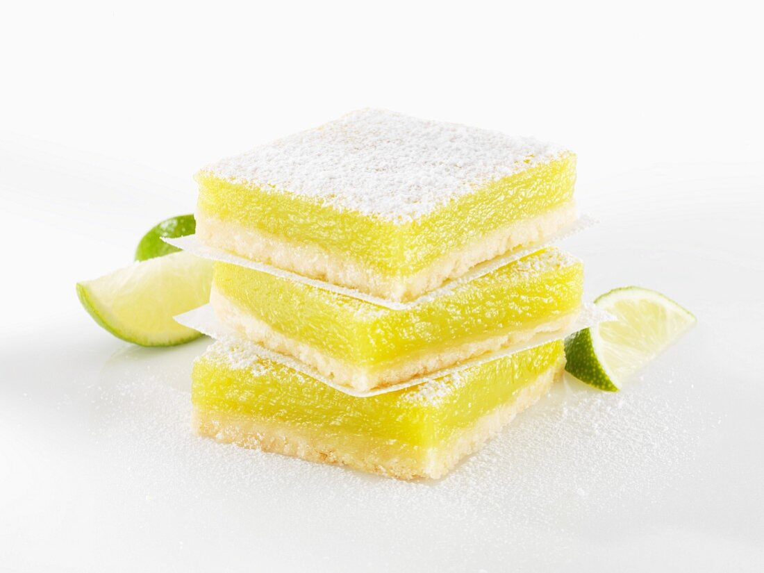 Key Lime bars with icing sugar