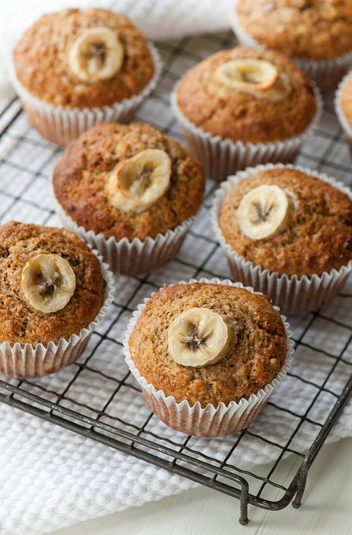 Banana muffins on a cooling rack
