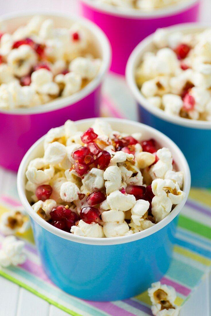 Piri-piri popcorn with pomegranate seeds