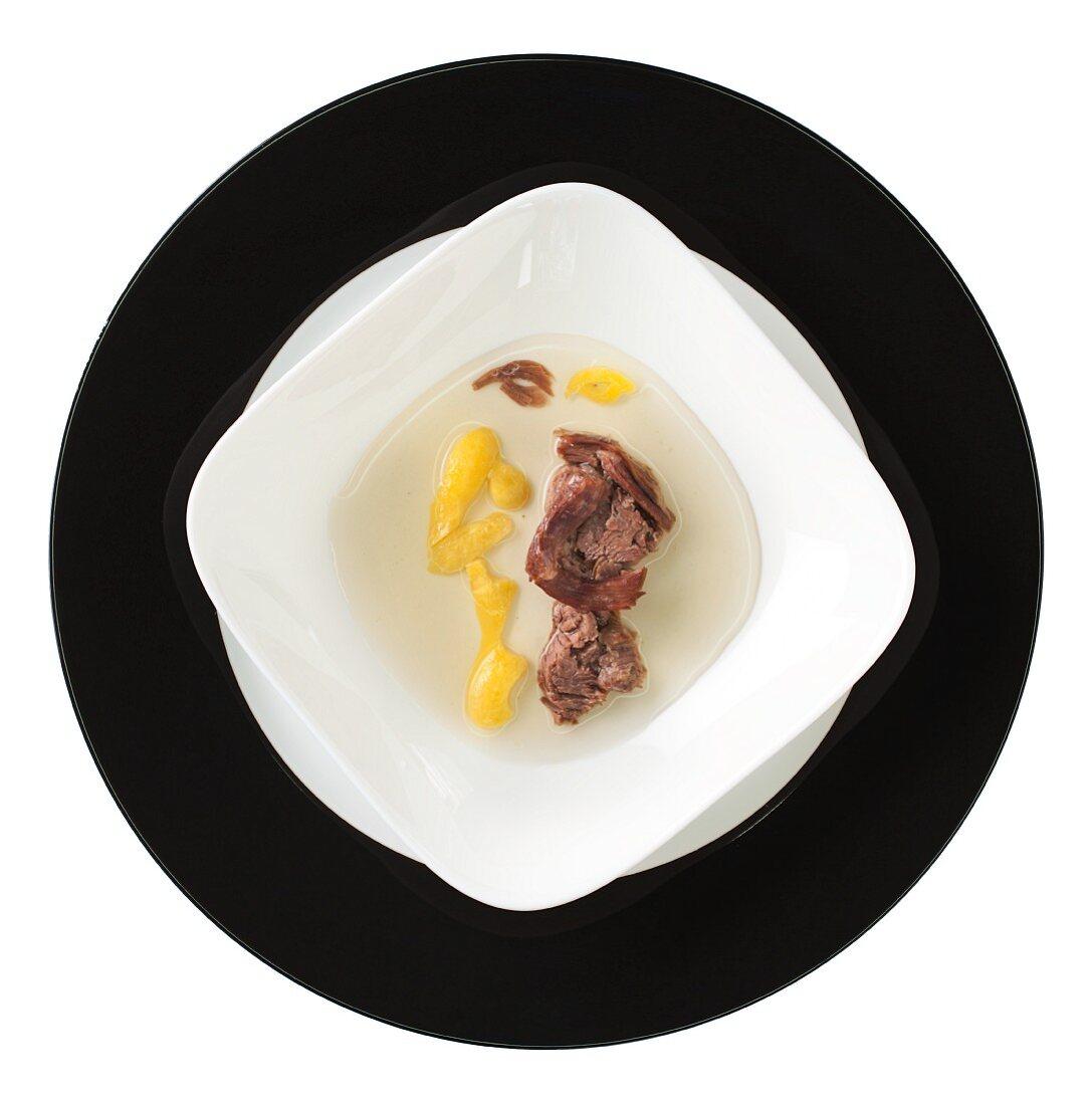 Fashion food: potato and beef soup