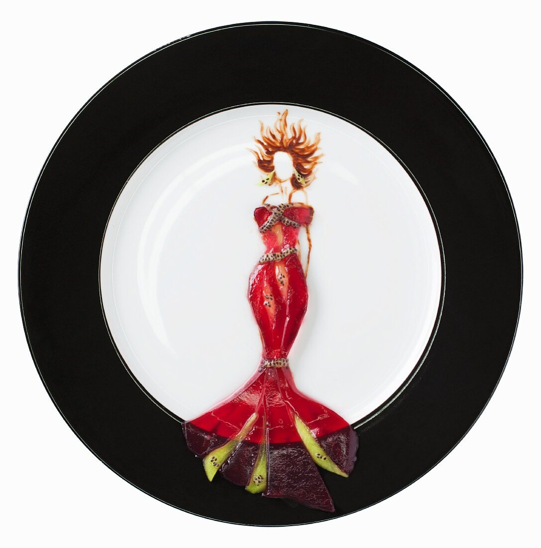 Fashion food: jelly with lingonberry juice as an evening dress