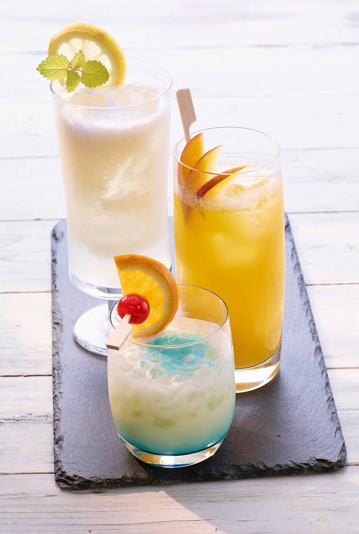 Three different cocktails: Swimming Pool, Sgroppino, Rio Carnival