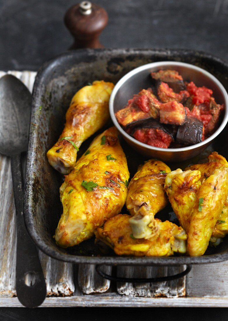 Turmeric chicken with an aubergine medley