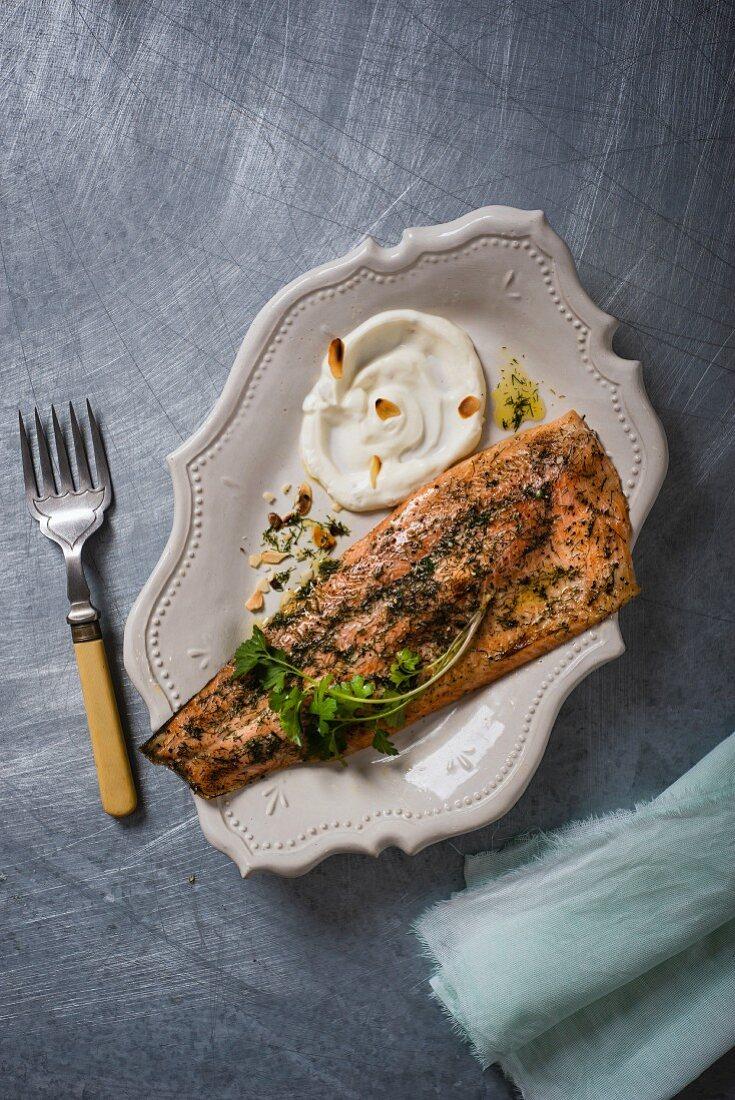 Herb trout with horseradish yoghurt