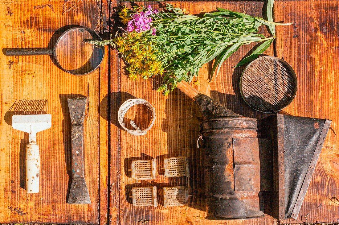 Stillleben mit Wildblumen & antikem Werkzeug (Aufsicht)