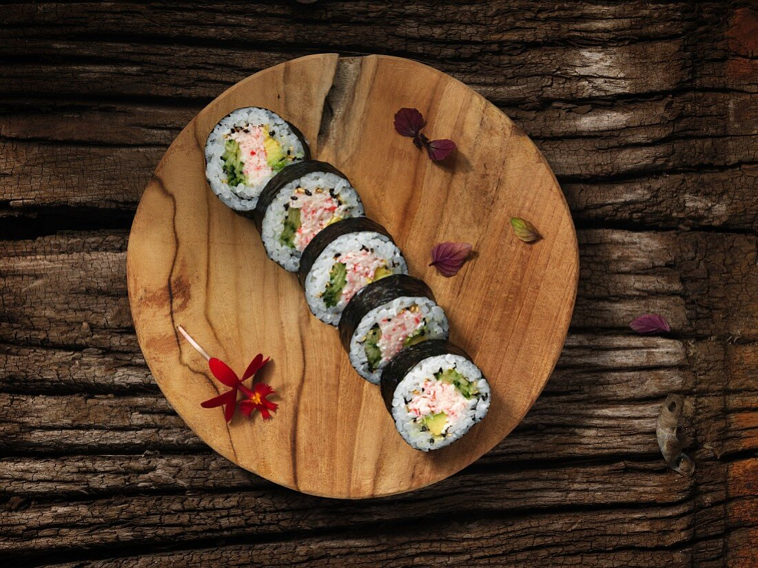 Futomaki sushi with crab and cucumber