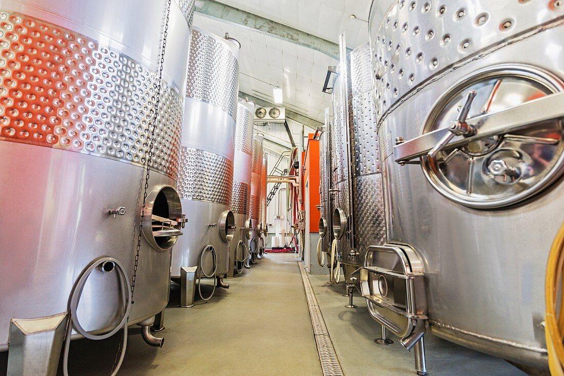 Steel tanks in a wine cellar