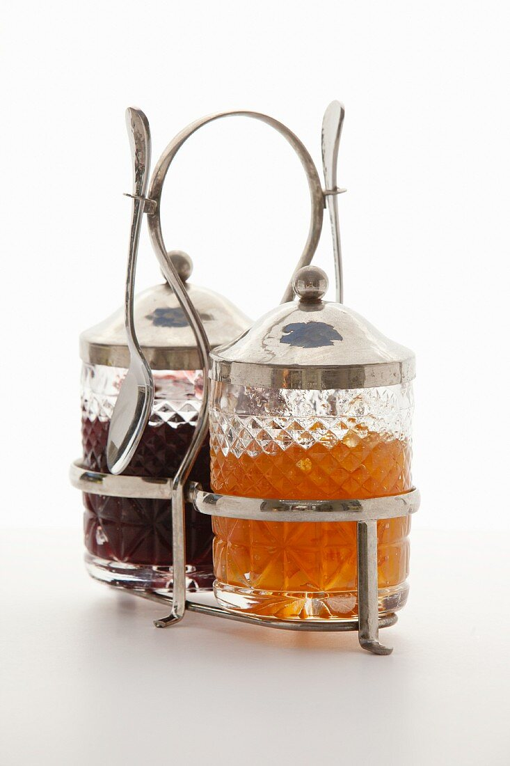 Jam in silver-plated, cut-glass jars
