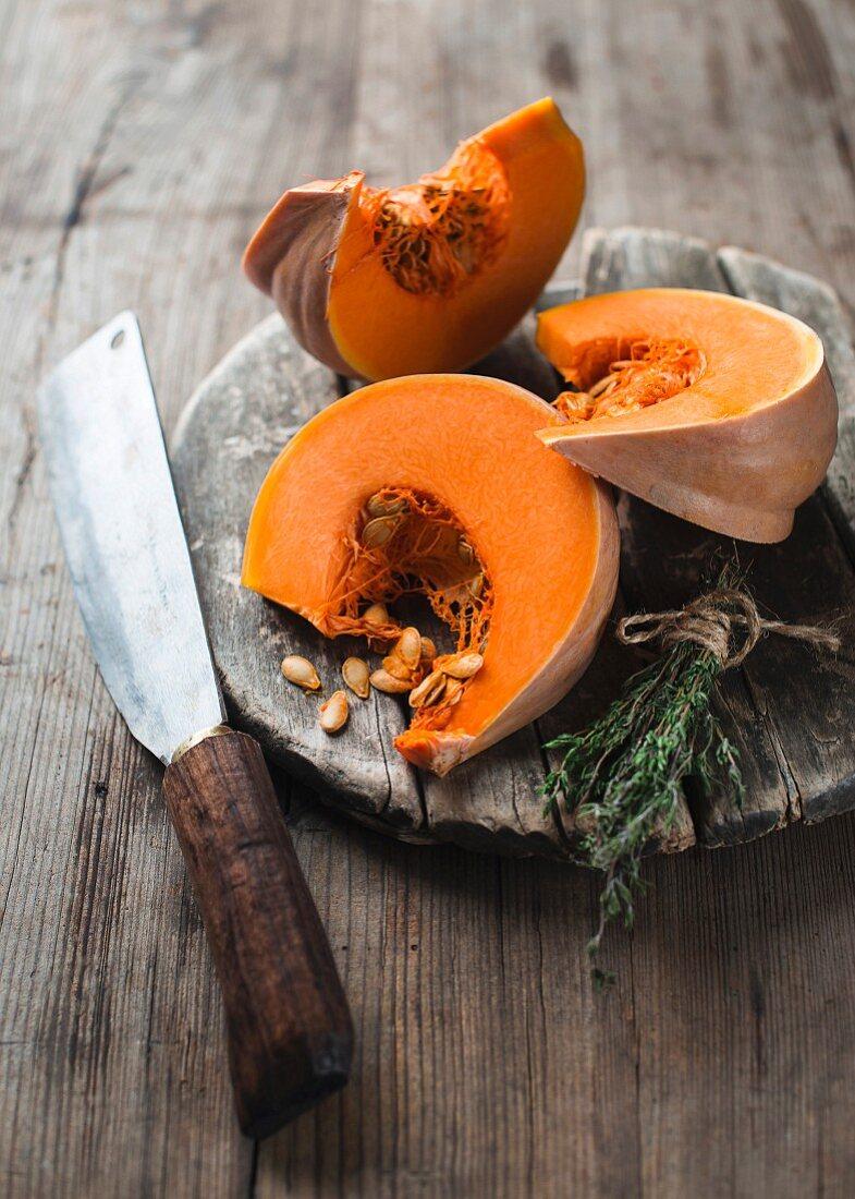 Three wedges of Muscade de Provence pumpkin