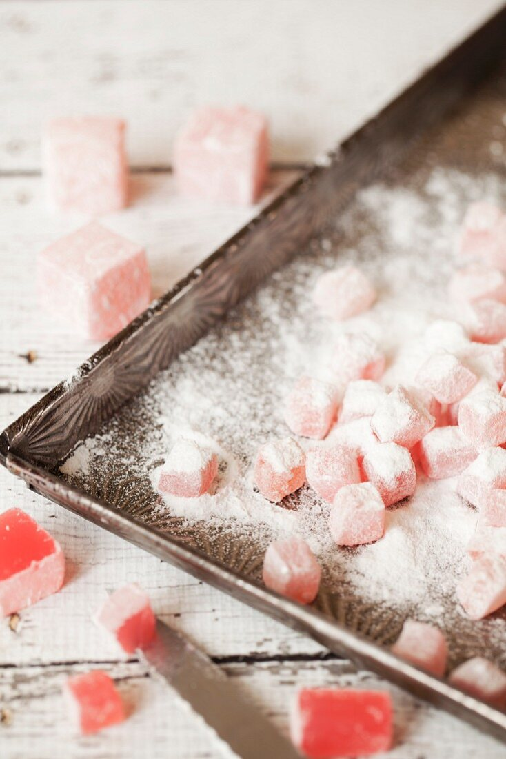 Turkish delight cut into small pieces