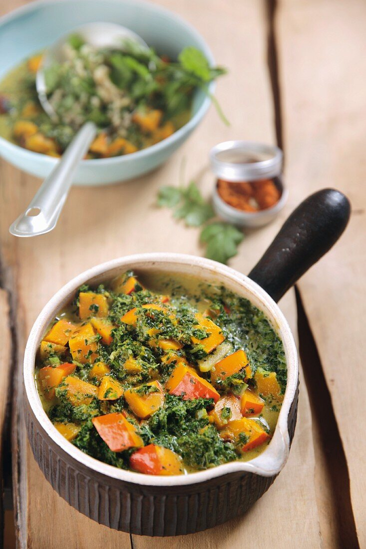 Pumpkin and green cabbage curry with coriander bulgur