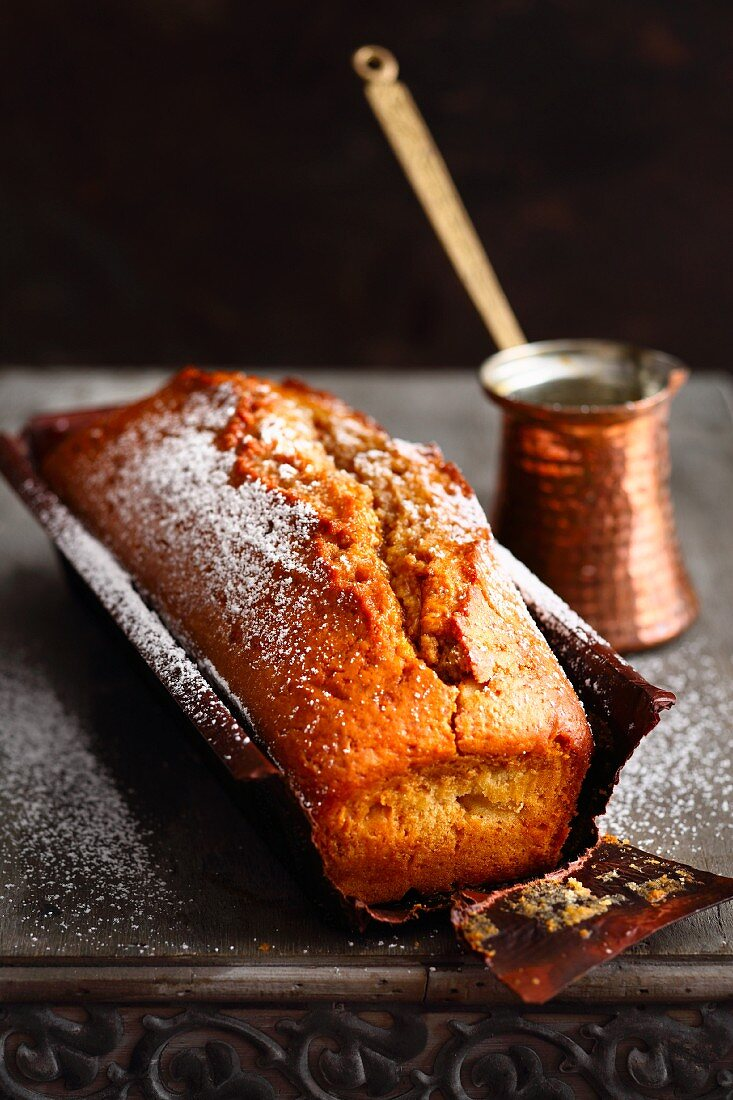 Arabian coffee cake dusted with icing sugar