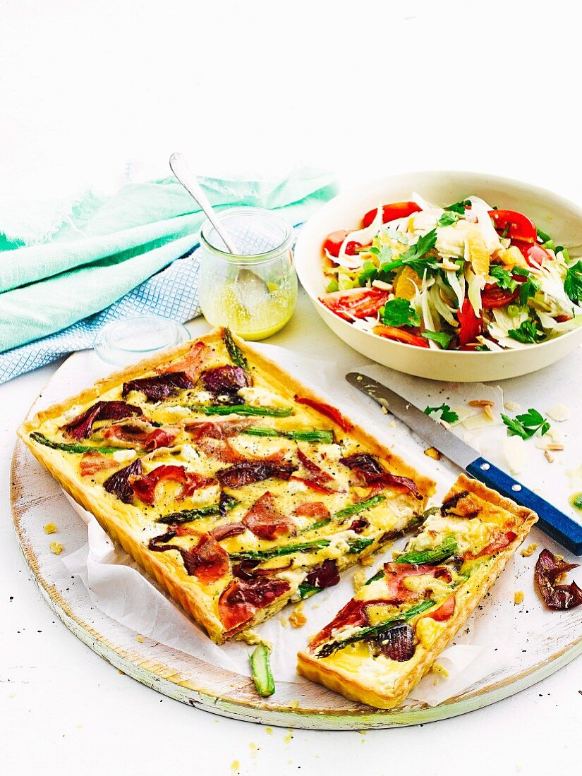 Asparagus, prosciutto and Goats Cheese tart