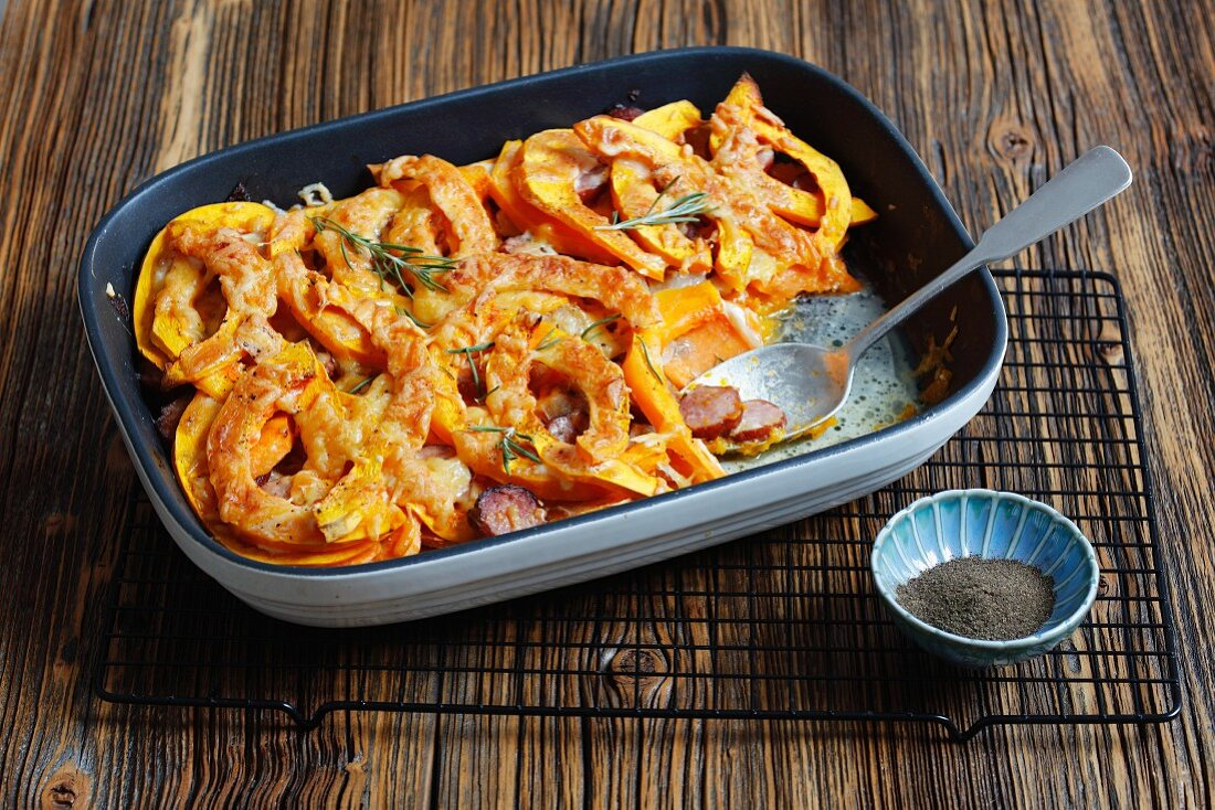 Pumpkin and sweet potato bake with sausages