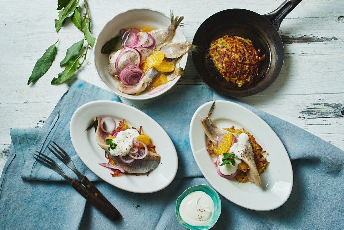 Marinated orange soused herring with red onions and potato cakes (Germany)