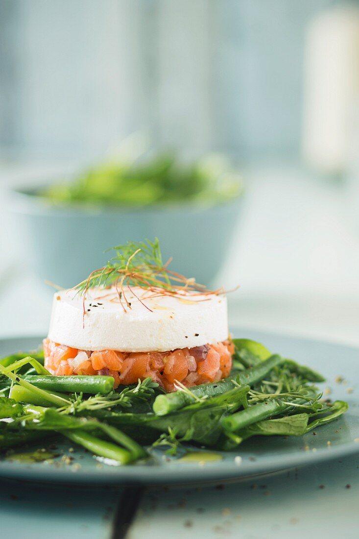 Salmon tartar with horseradish cream on green vegetables