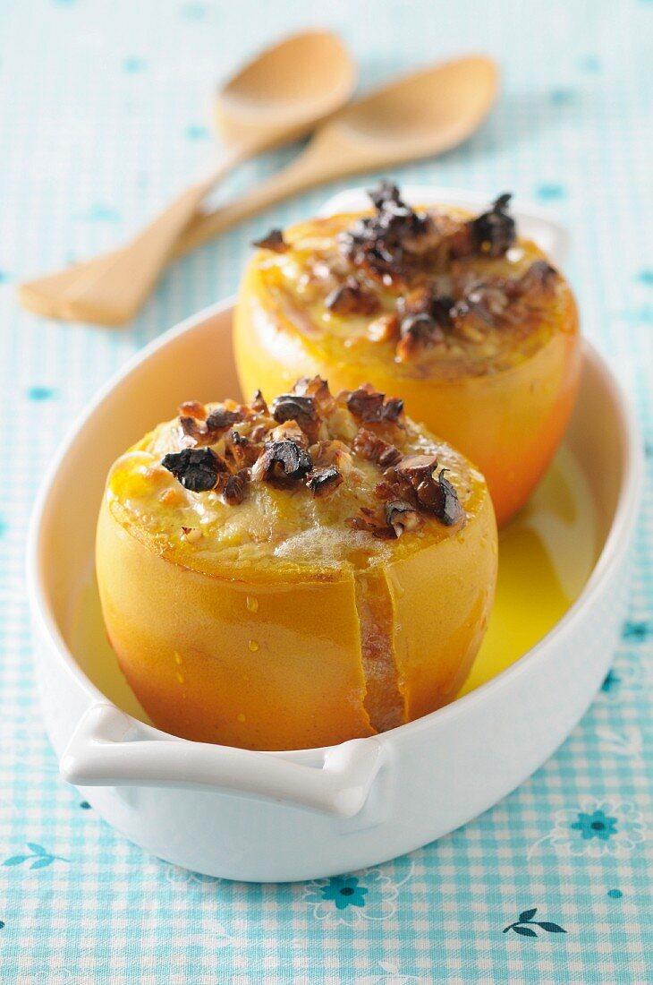 Gratinated persimmon