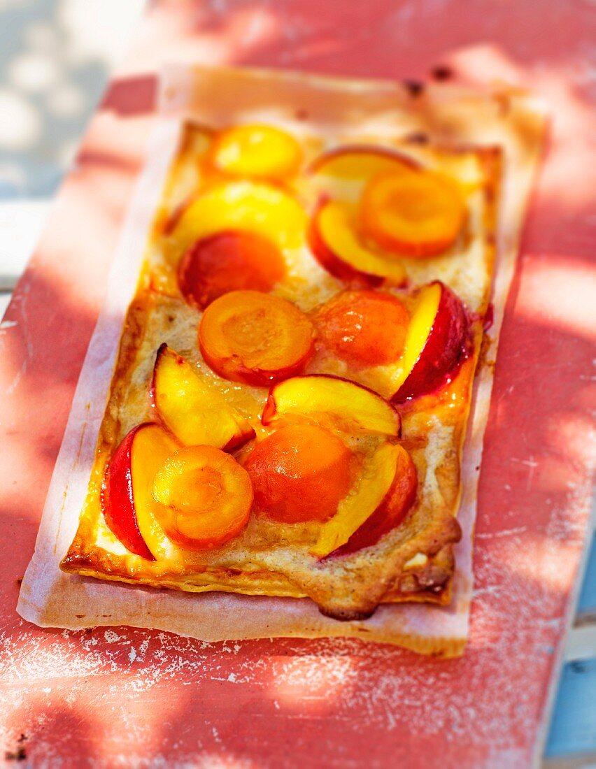 Apricot and nectarine tart