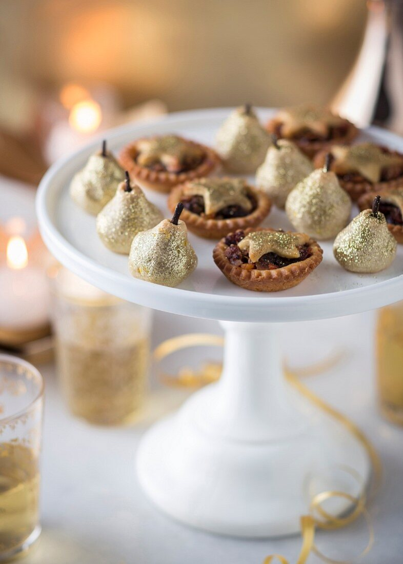 Mince pies and golden almond pears for the Christmas party
