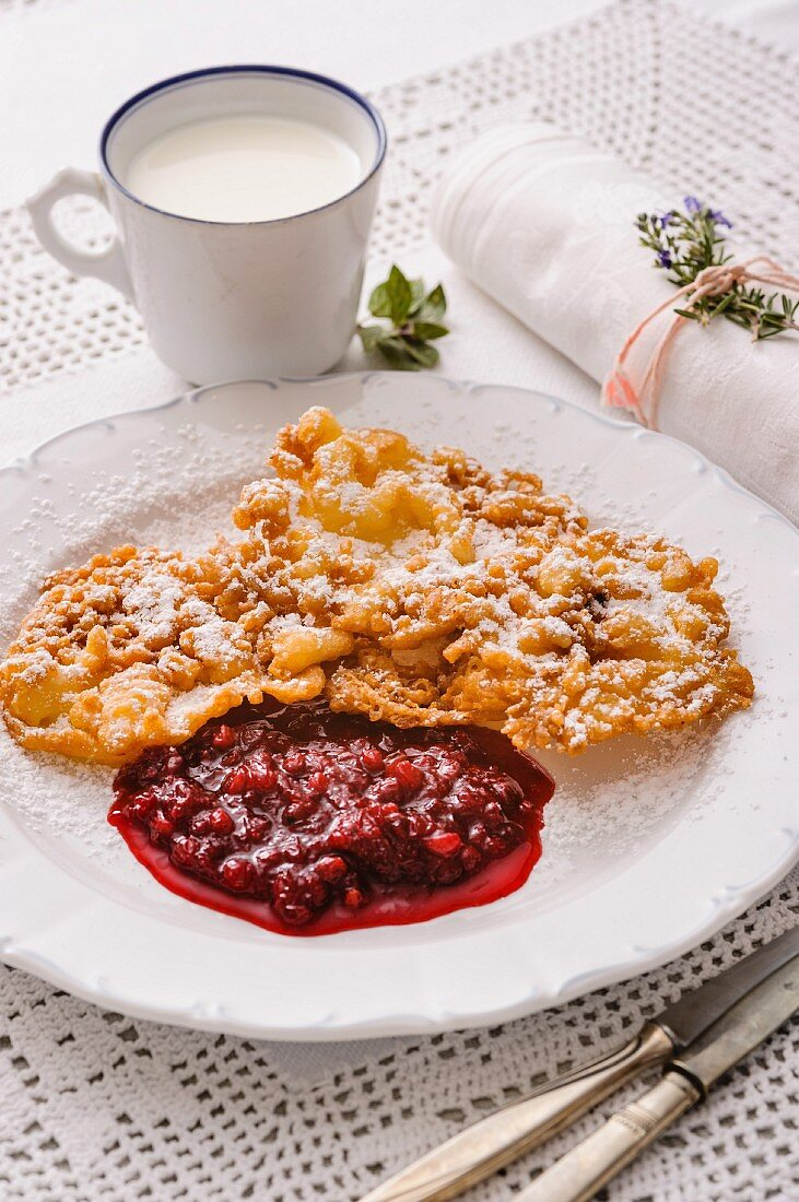 Funnel cake with lingonberry compote