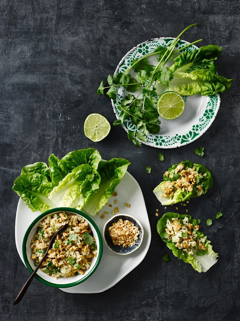 Thai-style San Choy Bow (minced meat served in lettuce leaves)