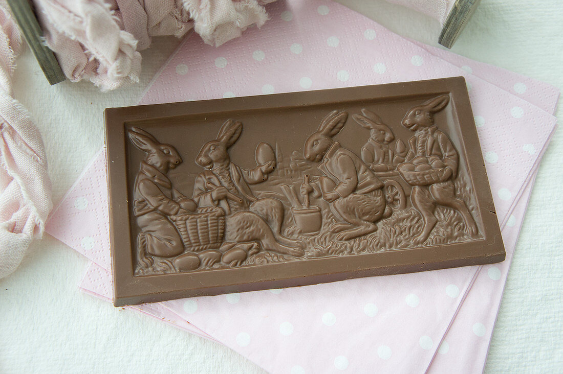 A bar of chocolate with an Easter scene