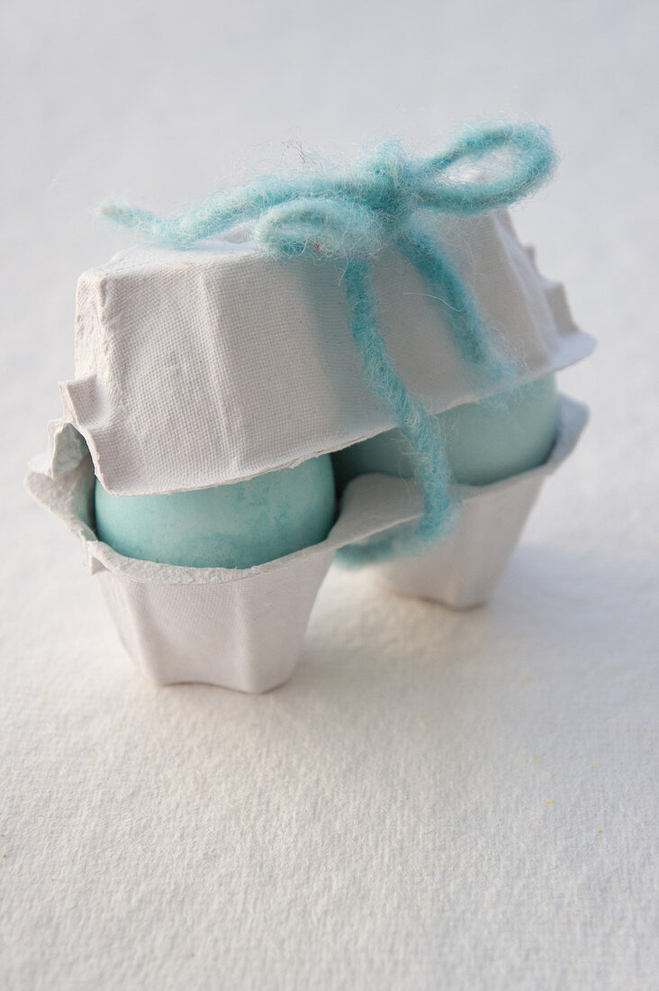Hellblaue Ostereier im Eierkarton