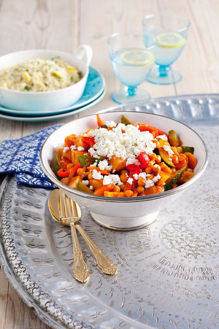 Tagine with assorted vegetables and goats' cheese