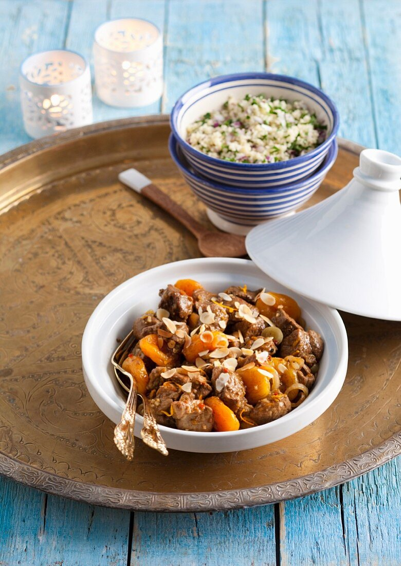 Lamb tagine with apricots and almonds