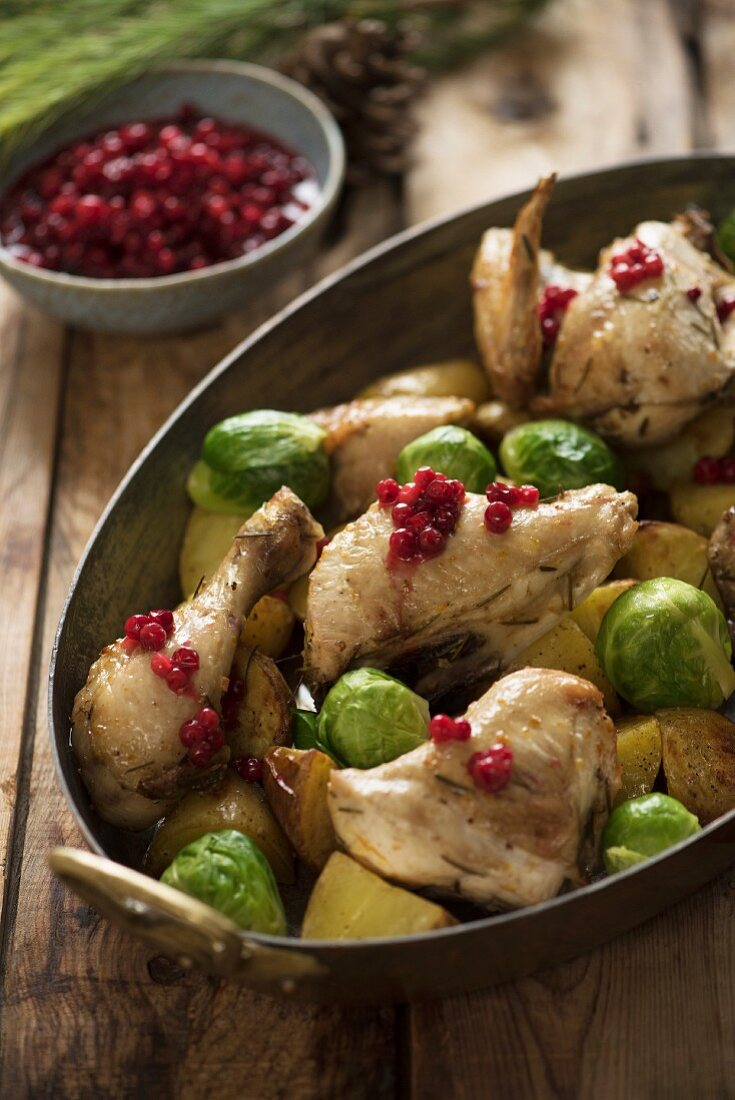 Chicken with Brussels sprouts and redcurrants