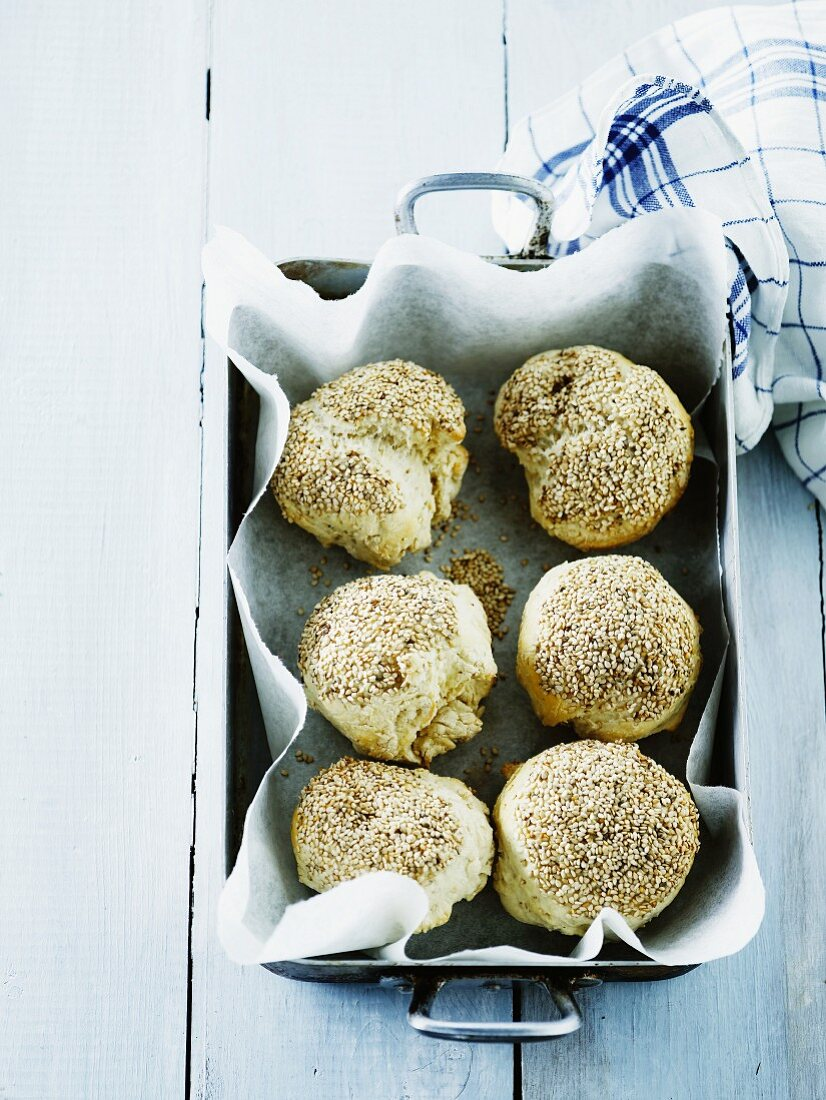 Homemade wheat rolls with sesame seeds