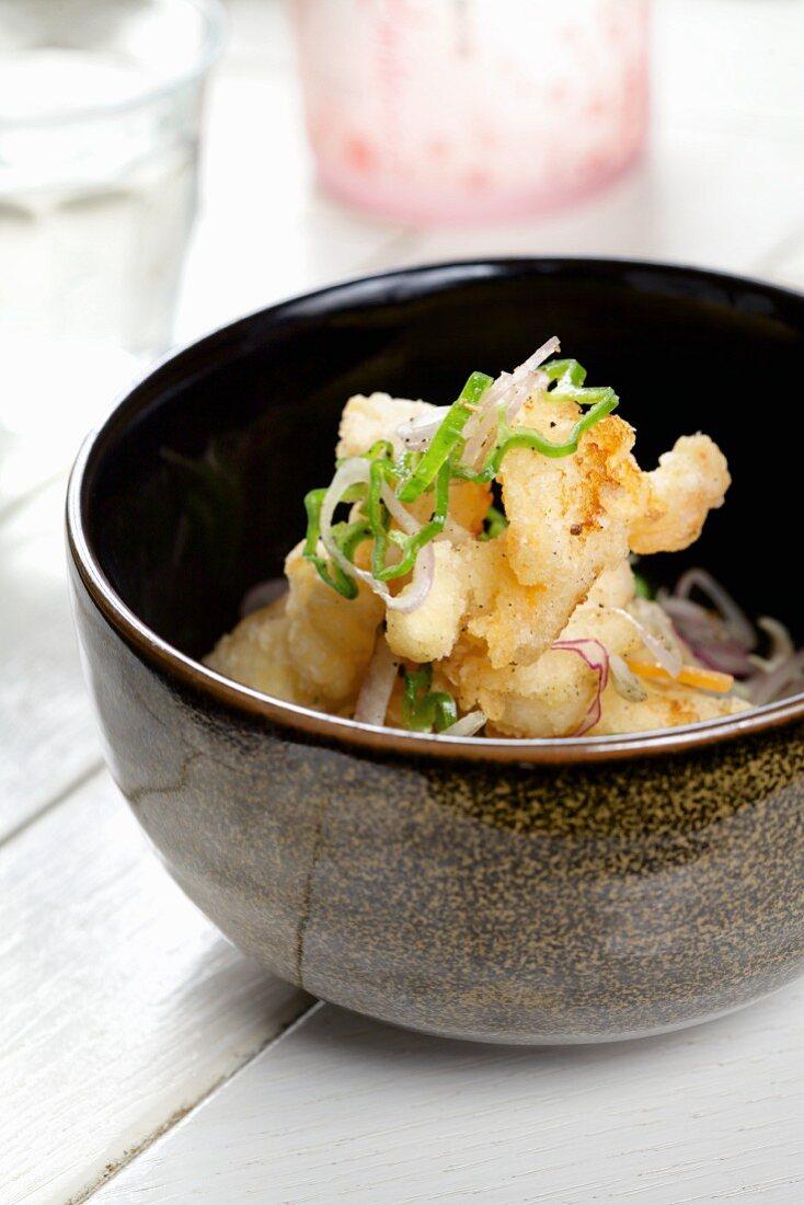 Almond prawns with a sudachi vinaigrette