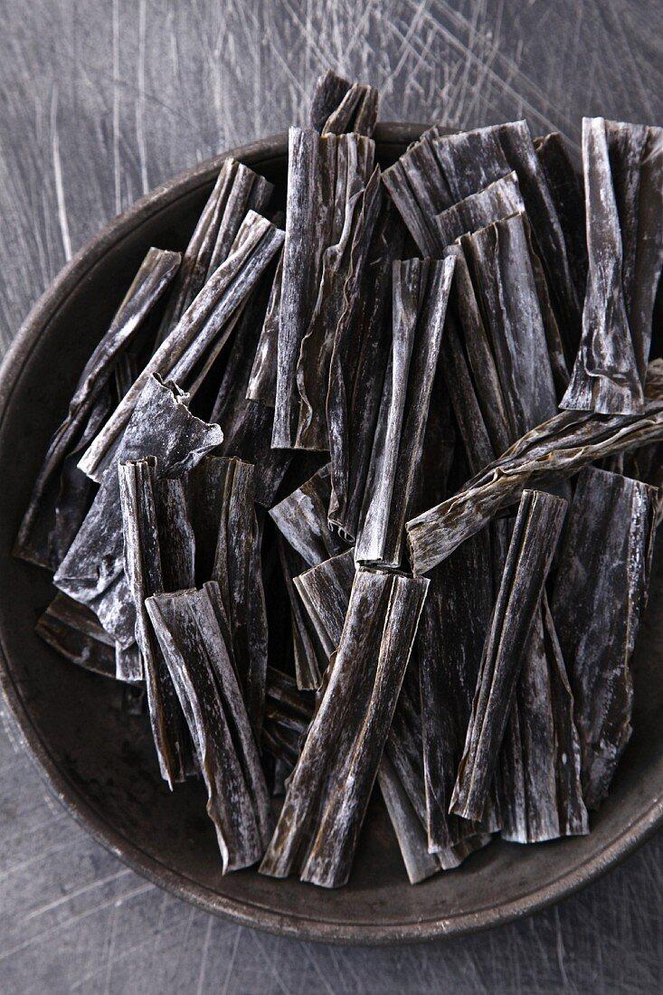 Dried kelp on a plate