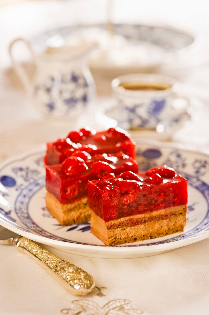 Raspberry slices topped with jelly
