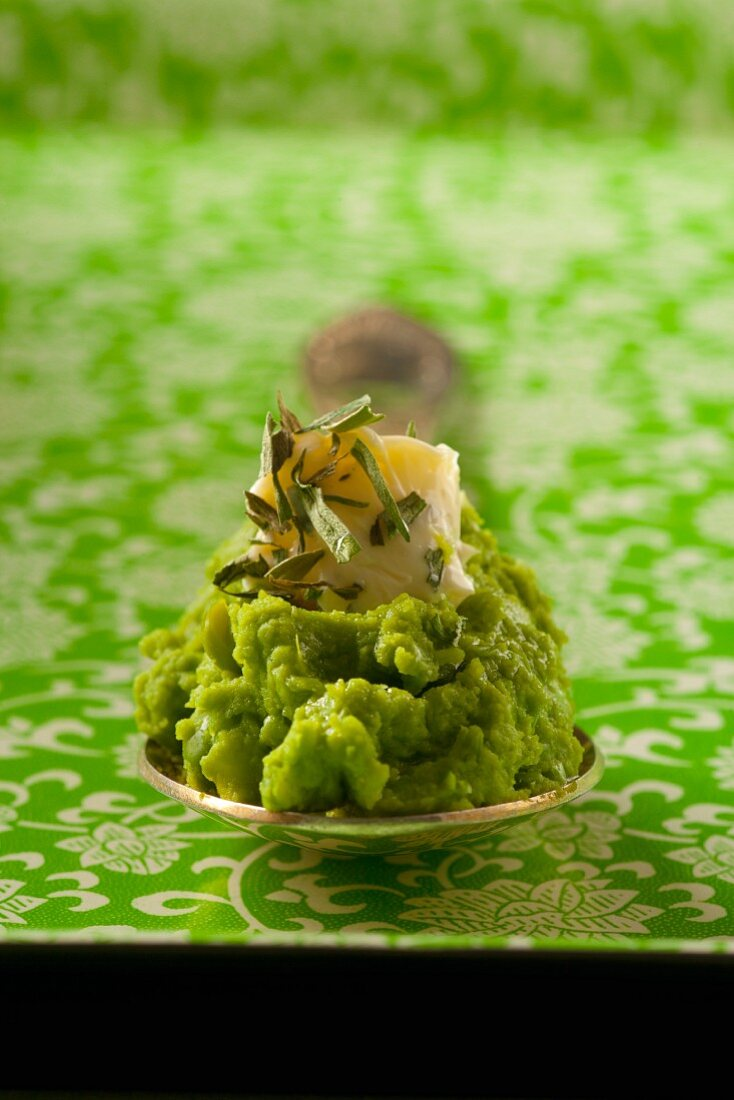 Broad bean paste with Parmesan cheese and dried tarragon
