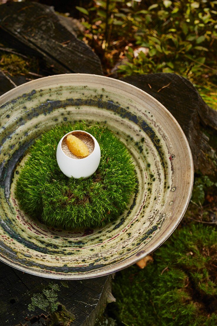A country egg with dried morel mushrooms and whitefish caviar by Heinrich Schneider, chef and owner of the Auener Hof restaurant, South Tyrol, Italy
