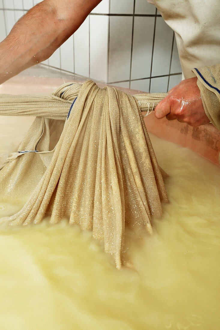Mountain cheese being made in an alpine dairy in Tyrol