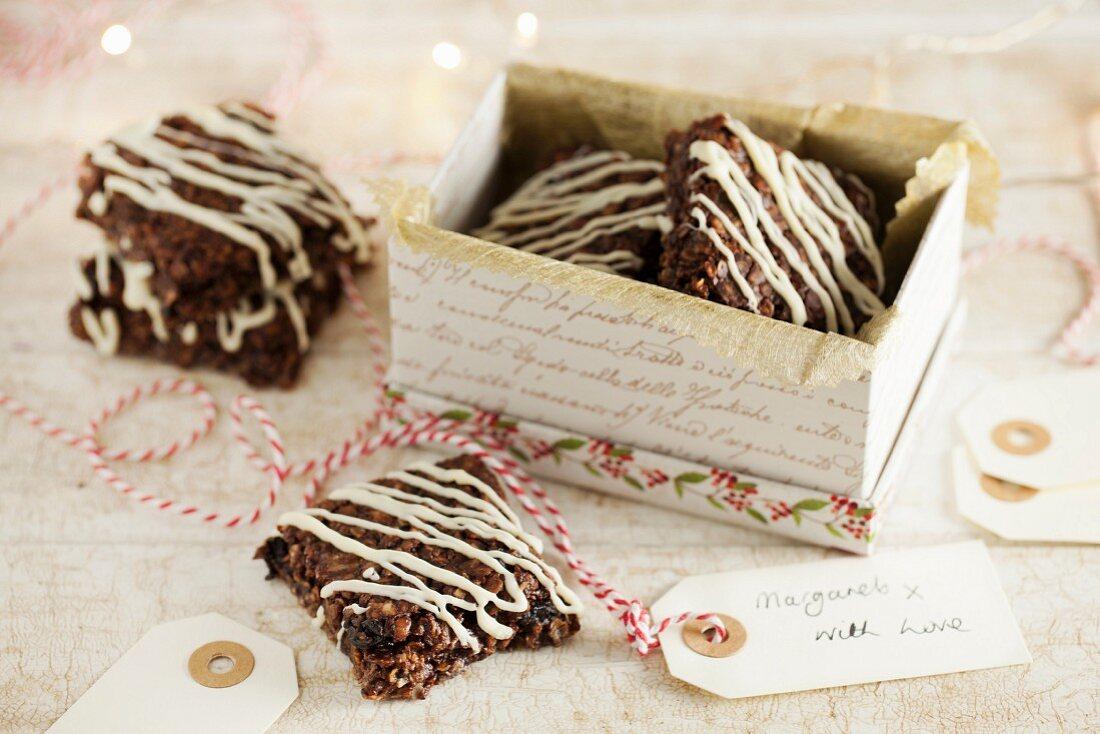 Christmas chocolate flapjacks as a gift